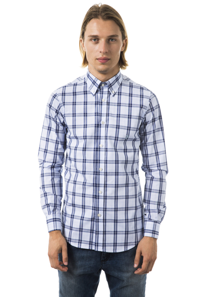 Camicia Roma Botton Down Quadri Blu